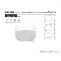 GALFER zadní brzdové desky typ FDA 1045 SUBARU IMPREZA (GD-GG) 2.0i 16V Turbo 4wd /Station Wagon -- rok výroby 00- ( brzdový systém SUM )